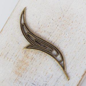 Antique bronze filigree wave 44x17 mm x 1 pc