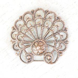 Antique copper filigree baroque shell 24x23 mm x 1 pc