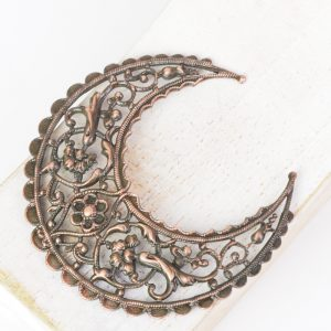 Antique copper filigree big crescent 51x55 mm x 1 pc