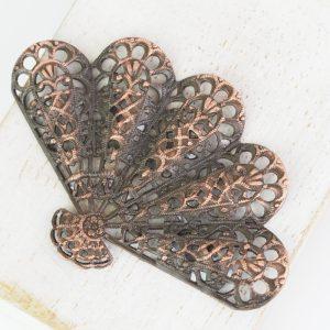 Antique copper filigree big fan 54x36 mm x 1 pc