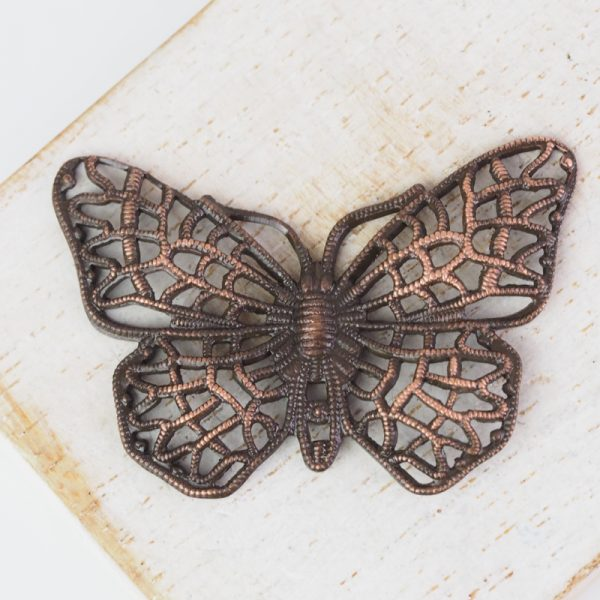 Antique copper filigree butterfly 38x25 mm x 1 pc