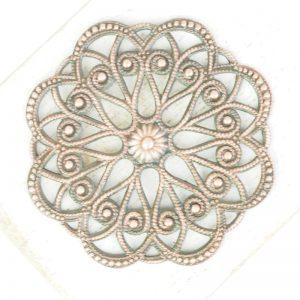 Antique copper filigree circle dance 43x43 mm x 1 pc
