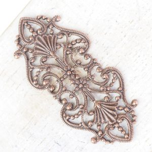 Antique copper filigree elegant 43x19 mm x 1 pc