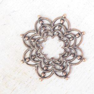 Antique copper filigree firework 23x23 mm x 1 pc