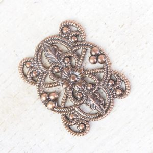 Antique copper filigree flower connector 22x18 x 1 pc