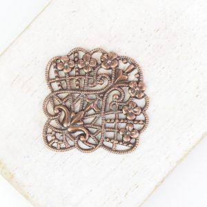 Antique copper filigree flower fan 30x30 mm x 1 pc