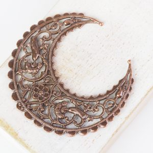 Antique copper filigree medium crescent 44x48 mm x 1 pc