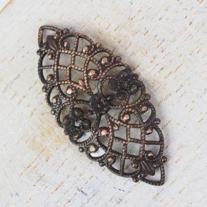 Antique copper filigree navette 33x15 mm x 1 pc