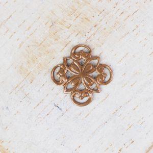 Antique copper filigree ornament square 10x10 mm x 1 pc