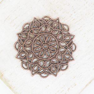 Antique copper filigree rosette 26x26 mm x 1 pc