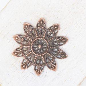 Antique copper filigree snowflake 27x27 mm x 1 pc