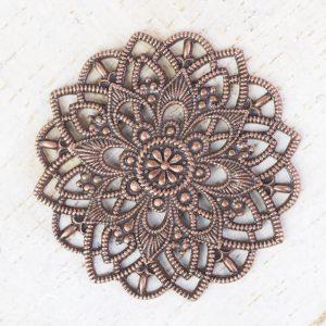 Antique copper filigree star flower 27x27 mm x 1 pc