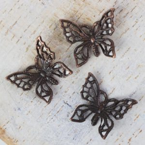Antique copper filigree tiny butterfly 12x11 mm x 1 pc