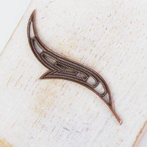 Antique copper filigree wave 44x17 mm x 1 pc