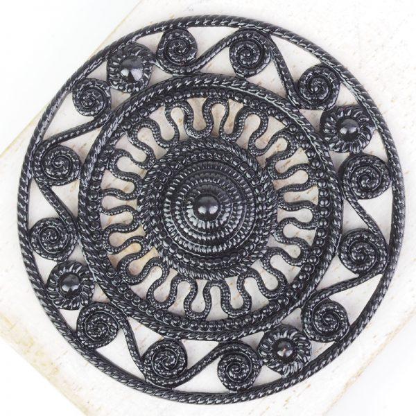 Gunmetal black filigree Aztec 46x46 mm x 1 pc