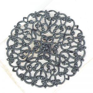 Gunmetal black filigree arabesque 55x55 mm x 1 pc