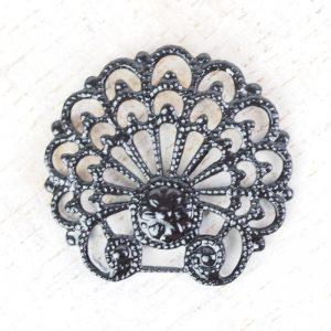 Gunmetal black filigree baroque shell 24x23 mm x 1 pc