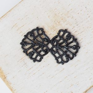 Gunmetal black filigree bowtie 26x15 mm x 1 pc