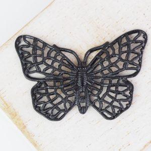 Gunmetal black filigree butterfly 38x25 mm x 1 pc
