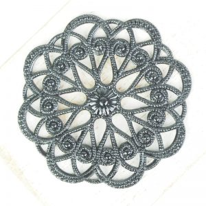 Gunmetal black filigree circle dance 43x43 mm x 1 pc
