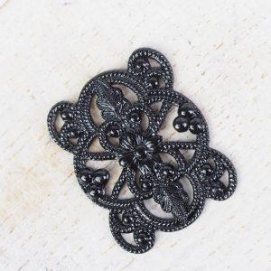 Gunmetal black filigree flower connector 22x18 x 1 pc