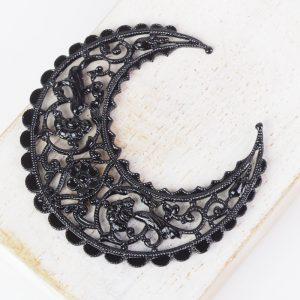 Gunmetal black filigree medium crescent 44x48 mm x 1 pc