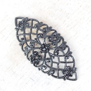 Gunmetal black filigree navette 33x15 mm x 1 pc