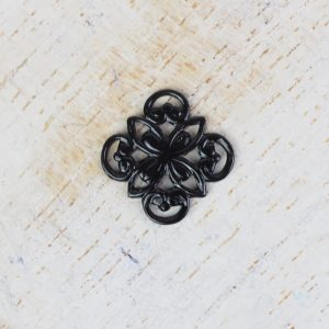 Gunmetal black filigree ornament square 10x10 mm x 1 pc