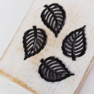 Gunmetal black filigree small leaf 21x14 mm x 1 pc