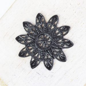 Gunmetal black filigree snowflake 27x27 mm x 1 pc