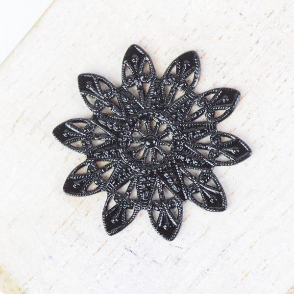 Gunmetal black filigree snowflake 27x27 mm x 1 pc