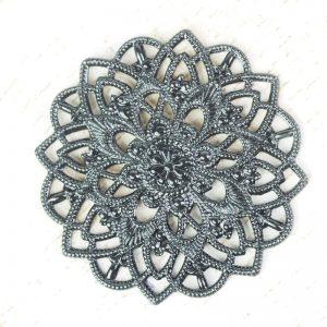 Gunmetal black filigree star flower 27x27 mm x 1 pc
