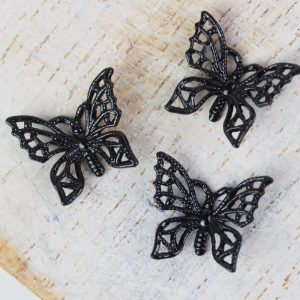 Gunmetal black filigree tiny butterfly 12x11 mm x 1 pc