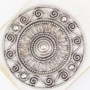 Patina silver filigree Aztec 46x46 mm x 1 pc