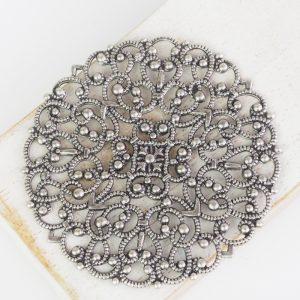 Patina silver filigree arabesque 55x55 mm x 1 pc