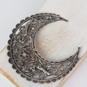 Patina silver filigree big crescent 51x55 mm x 1 pc