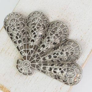 Patina silver filigree big fan 54x36 mm x 1 pc