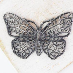 Patina silver filigree butterfly 38x25 mm x 1 pc