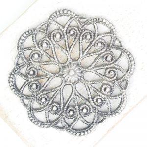 Patina silver filigree circle dance 43x43 mm x 1 pc