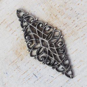 Patina silver filigree diamond 32x14 mm x 1 pc