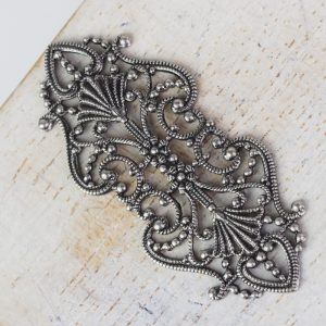 Patina silver filigree elegant 43x19 mm x 1 pc