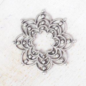 Patina silver filigree firework 23x23 mm x 1 pc