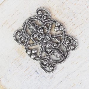 Patina silver filigree flower connector 22x18 x 1 pc