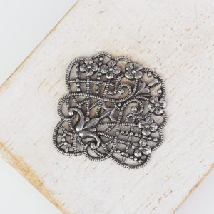 Patina silver filigree flower fan 30x30 mm x 1 pc