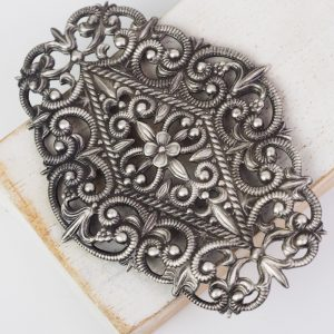 Patina silver filigree flower garden 76x54 mm x 1 pc