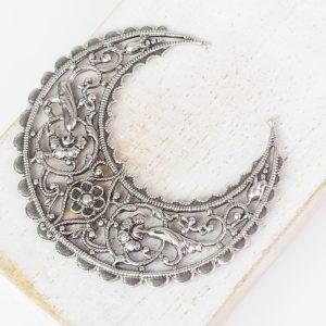 Patina silver filigree medium crescent 44x48 mm x 1 pc