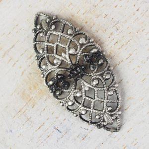 Patina silver filigree navette 33x15 mm x 1 pc