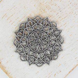 Patina silver filigree rosette 26x26 mm x 1 pc