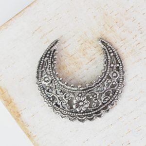 Patina silver filigree small crescent 22x24 mm x 1 pc