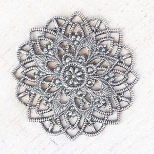 Patina silver filigree star flower 27x27 mm x 1 pc